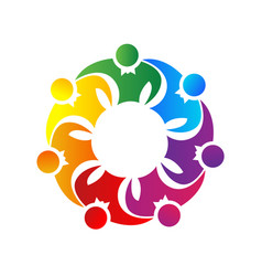 Team of people together unity logo symbol vector