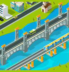 town bridge landscape building footbridge vector image