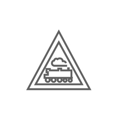 Train sign line icon vector