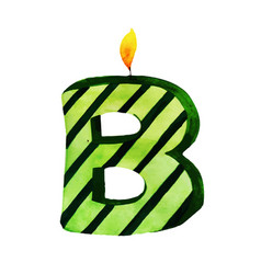 Watercolor happy birthday letter b candle vector