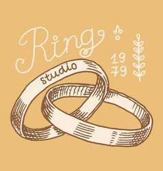 wedding ring in a gift box label women jewelry vector image