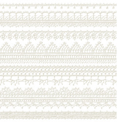White seamless pattern lacy crochet edges vector