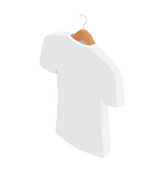 White t-shirt on hanger clothes on isolated white vector
