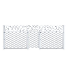 wire fence or chain link protection with gate vector image