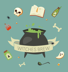 witch potion cauldron halloween elements black vector image