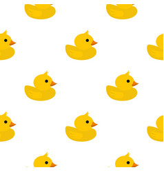 Yellow rubber duck pattern flat vector