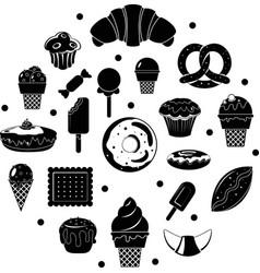 black sweet desserts vector image vector image