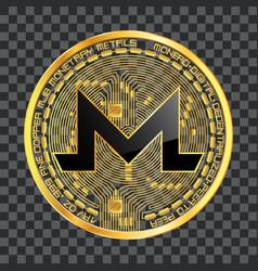 crypto currency monero golden symbol vector image vector image