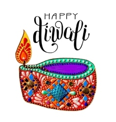 original greeting card to deepavali festival with vector image vector image