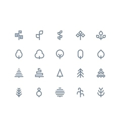 Tree icons Line series vector image vector image