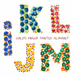 colorful funny paint alphabet iklmj letters vector image