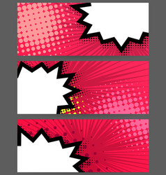 comic book balloon horizontal pink blank banner vector image