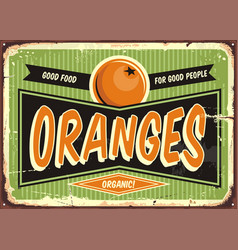 Fresh organic oranges vintage sign vector