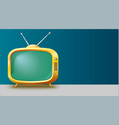template with retro yellow tv set for vector image vector image