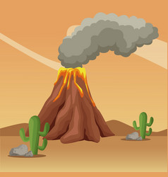vulcan at desert landscape cartoon vector image vector image