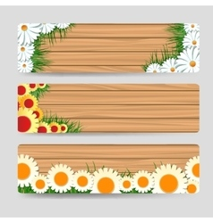 Wood banners with grass and flowers vector image