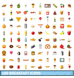 100 breakfast icons set cartoon style vector image