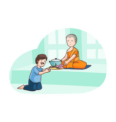 a man offer food to monk vector image