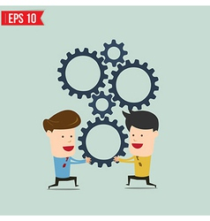 Businessman with gears - - EPS10 vector image
