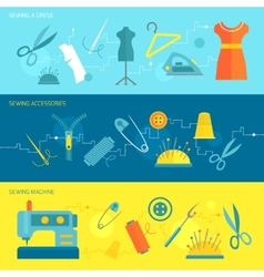Sewing equipment banner flat vector image