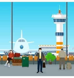 Waiting Room in Airport with People vector image vector image
