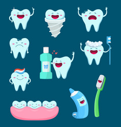 characters set of funny teeth and vector image vector image