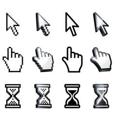 cursor hand arrow hourglass vector image