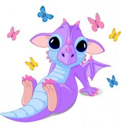 Cute sitting baby dragon vector