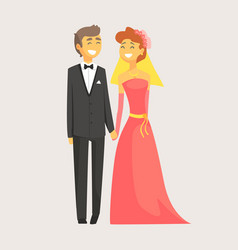 happy wedding couple holding hands romantic vector image