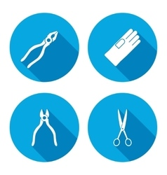 Pliers scissors glove tongs icons set Repair vector image vector image