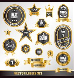set of gold labels vector image