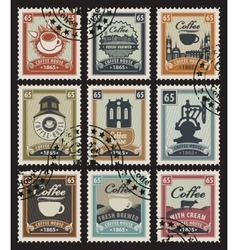 stamps for coffee vector image vector image