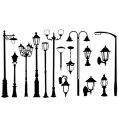 street light silhouettes vector image