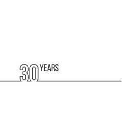 30 years anniversary or birthday linear outline vector image
