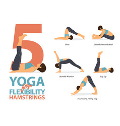 5 yoga poses for hamstrings flexibility vector image