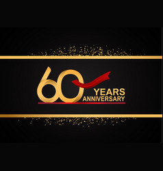 60 years anniversary logotype with golden color vector