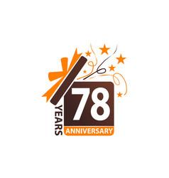 78 years gift box ribbon anniversary vector image