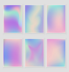 abstract holographic iridescent foil texture set vector image