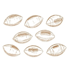 American football or rugby sports balls sketches vector