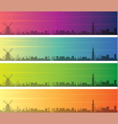 amsterdam multiple color gradient skyline banner vector image