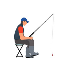Angler with fishing tackle waiting for fish poster vector