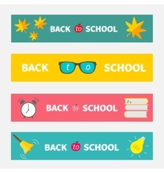 Back to school banner set Bell alarm clock vector image