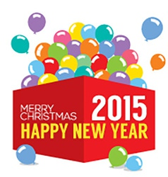 Balloons In The Box 2015 New Year vector image