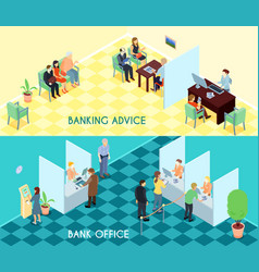 bank service isometric banners vector image