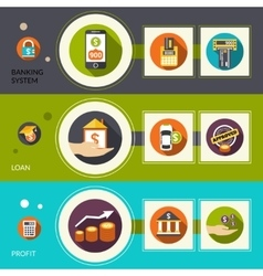 Banking System Loan Horizontal Banners vector