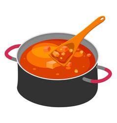 Big steel pan with borsch or red beet soup wooden vector