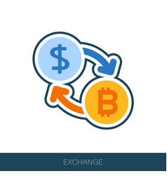 Bitcoin to dollar exchange icon vector
