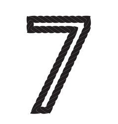 Black and white number seven made from rope vector