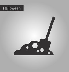 Black and white style icon halloween plot shovel vector