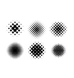 black circle halftone set vector image